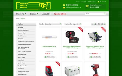 Screenshot of Products Page brightontools.co.uk - Products :: Brighton Tools and Fixings Ltd. - captured Oct. 5, 2014