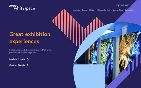 Screenshot of Home Page skylinewhitespace.com - Exhibition Stand Builders UK | Exhibition Stand Design & Build | London - captured Aug. 2, 2019