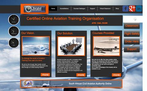 Screenshot of Home Page kershalaviation.com - SA CAA Approved Online Aviation Training Online Pilot Training - captured Sept. 30, 2014