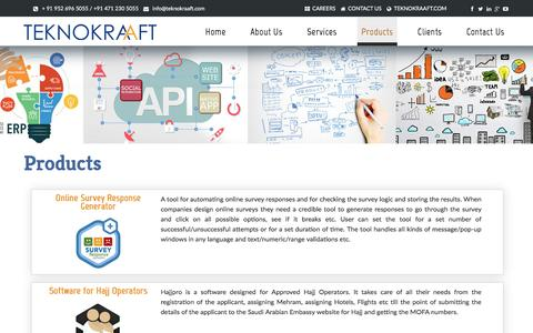 Screenshot of Products Page teknokraaft.net - Teknokraaft|Products|Services|Agile Project Management|Cost Effective - captured March 4, 2017