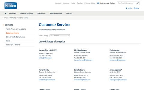 Screenshot of Support Page haldex.com - Contact Customer Service - captured Jan. 10, 2017