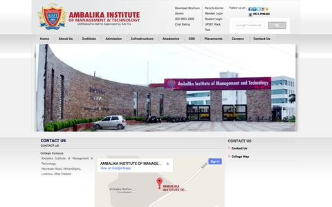 Screenshot of Contact Page Site Map Page aimt.edu.in - CONTACT US - captured Oct. 27, 2014