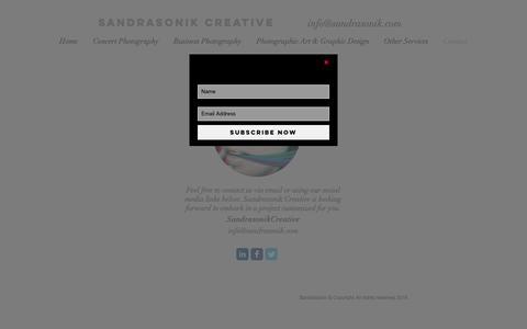 Screenshot of Contact Page sandrasonik.com - contact - captured May 27, 2017