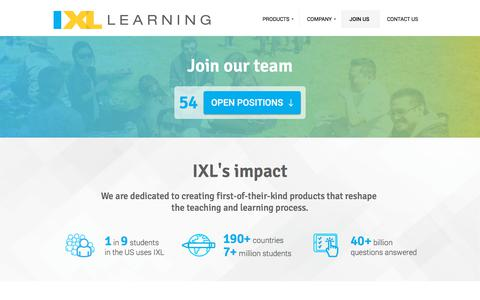 Screenshot of Jobs Page ixl.com - IXL Learning | Join our team info - captured July 13, 2018