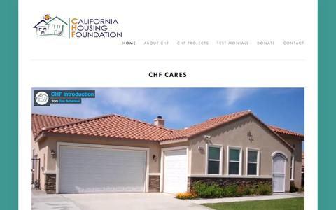 Screenshot of Home Page chfcares.com - California Housing Foundation - captured July 11, 2017