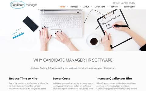Screenshot of Home Page candidatemanager.net - Candidate Manager - ATS - HR Software - captured Sept. 5, 2016