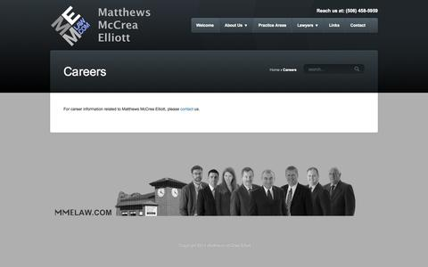 Screenshot of Jobs Page mmelaw.com - Matthews McCrea Elliott – MME Law | Careers - Matthews McCrea Elliott - MME Law - captured Oct. 27, 2014