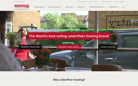 Screenshot of Home Page warmup.co.uk - Underfloor Heating Systems | Underfloor Insulation | Warmup - captured April 20, 2017