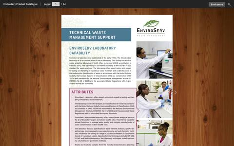 Screenshot of Case Studies Page enviroserv.co.za - EnviroServ Product Catalogue - captured July 14, 2018