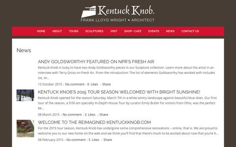 Screenshot of Press Page kentuckknob.com - Kentuck Knob |   News - captured Feb. 10, 2016