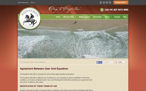 Screenshot of Terms Page equathon.com - Horse Riding Australia Terms & Conditions - Equathon Horse Riding | Equathon - captured Oct. 2, 2014