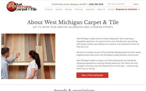 Screenshot of About Page westmichigancarpet.com - About West Michigan Carpet & Tile in Mattawan MI - captured Oct. 18, 2018