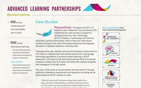 Screenshot of Case Studies Page advancedpartnerships.com - :: Advanced Learning Partnerships :: - captured Oct. 4, 2014