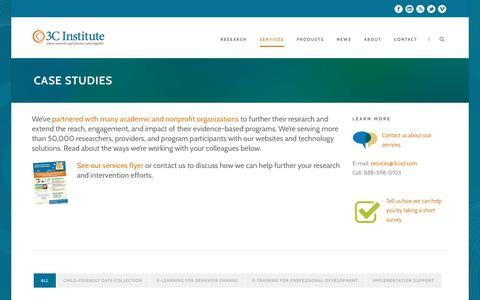 Screenshot of Case Studies Page 3cisd.com - E-learning, child-friendly assessment, & implementation support | 3C Institute - captured Dec. 11, 2016