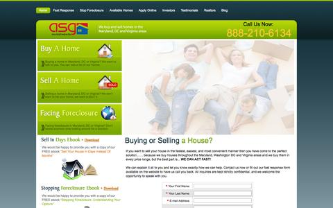 Screenshot of Home Page asginvestments.com - Selling or Buying a House - captured Sept. 30, 2014