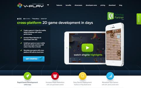 Screenshot of Home Page v-play.net - Home   V-Play Game Engine - captured Sept. 19, 2014
