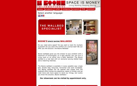 Screenshot of Home Page boone-wallbeds.com - Boone Wallbeds, Space is money  , The wallbed specialist //  Last updated - Tuesday, February 19 2008 // - captured Oct. 4, 2014