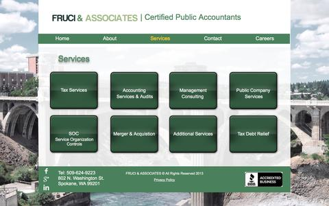 Screenshot of Services Page fruci.com - Fruci and Associates- CPA- Services - captured Nov. 25, 2016
