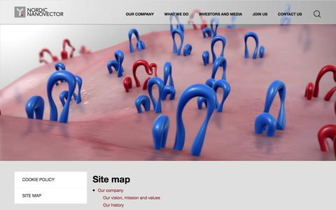 Screenshot of Site Map Page nordicnanovector.com - Site map | Nordicnanovector - captured Oct. 23, 2017