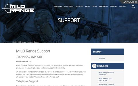Screenshot of Support Page faac.com - Support | MILO Range - captured Sept. 30, 2017