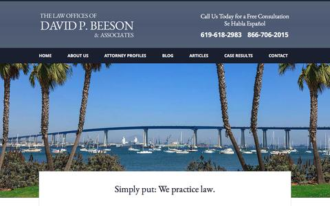 Screenshot of Home Page beeson4law.com - San Diego Personal Injury Attorney | Law Offices of David P. Beeson & Associates - captured Feb. 16, 2016