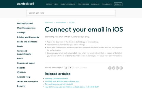 Screenshot of Support Page getbase.com - Connect your email in iOS – Base Support - captured Nov. 15, 2018
