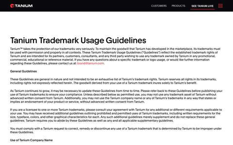 Tanium - Tanium Trademark Usage Guidelines