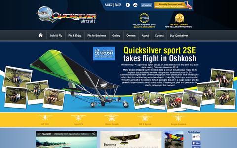 Screenshot of Home Page quicksilveraircraft.com - Quicksilver Aircraft - captured Sept. 24, 2014