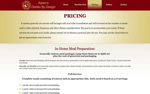 Screenshot of Pricing Page karensdishesbydesign.com - Karens Dishes by Design - Providing personal cheffing services to Worcester County and beyond. - captured Sept. 30, 2014