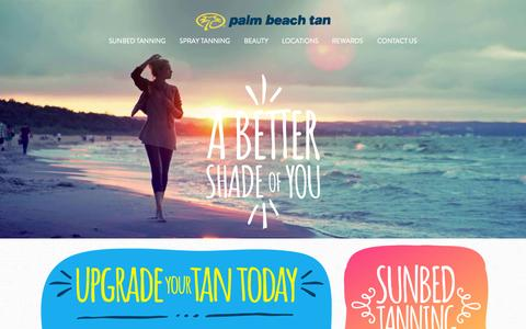Screenshot of Home Page palmbeachtan.com - Tanning Salons, Sunbed Tanning and Sunless Spray Tanning | Palm Beach Tan - captured July 18, 2015