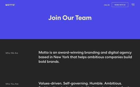 Screenshot of Jobs Page wearemotto.com - Careers | Creative Careers | Motto | Branding Agency - captured June 10, 2019