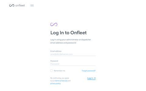 Screenshot of Login Page onfleet.com - Onfleet | Log In - captured Aug. 16, 2019