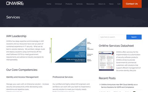 Screenshot of Services Page onwireco.com - Services | OnWire – Identity and Access Management Services and Cloud Solutions - captured Oct. 20, 2018