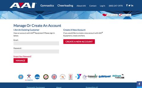 Screenshot of Login Page americanathletic.com - Manage Your Account | AAI Equipment - captured July 25, 2016