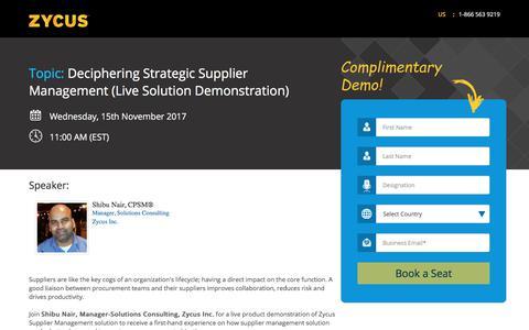 Screenshot of Landing Page zycus.com - Deciphering Strategic Supplier Management (Live Solution Demonstration) - captured Nov. 11, 2017