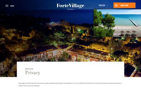 Screenshot of Privacy Page fortevillageresort.com - Privacy - Forte Village Resort - captured Aug. 20, 2018