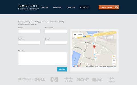 Screenshot of Contact Page avocom.be - Contact - Avocom - captured March 8, 2016