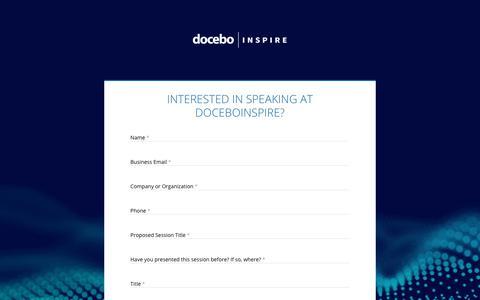 Docebo Docebo Inspire Speaker Contact - Docebo
