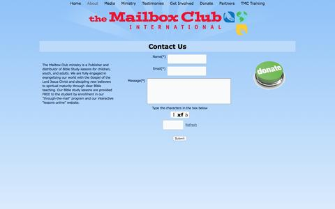 Screenshot of Contact Page mailboxclub.org - Mailbox Club -  Contact Us For More Information - captured Dec. 17, 2016