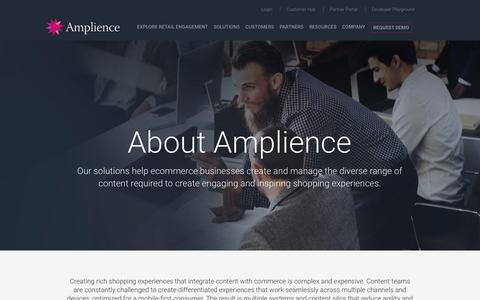Screenshot of About Page amplience.com - About - Amplience - captured July 12, 2018