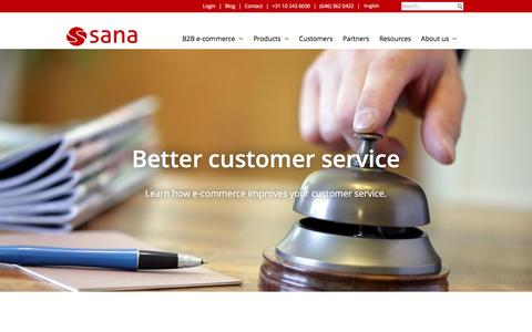 Screenshot of Support Page sana-commerce.com - Better customer service with B2B e-commerce | Sana Commerce - captured July 22, 2016