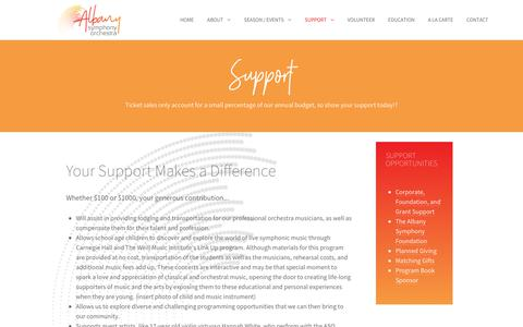 Screenshot of Support Page albanysymphony.org - Support Albany Symphony Orchestra - captured Oct. 29, 2018