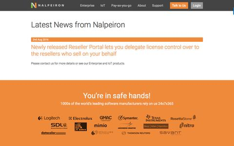 Screenshot of Press Page nalpeiron.com - Nalpeiron News on Software Licensing and Analytics - captured Oct. 20, 2016