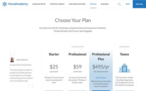 Screenshot of Pricing Page cloudacademy.com - Keep your skills sharp with monthly updates - captured March 17, 2017