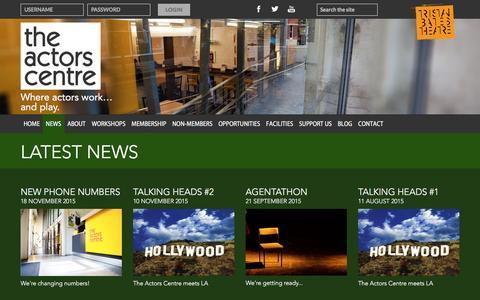 Screenshot of Press Page actorscentre.co.uk - News | The Actors Centre - captured Dec. 23, 2015