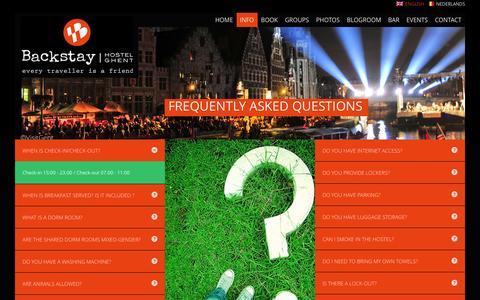 Screenshot of FAQ Page backstayhostels.com - BACKSTAY HOSTEL Ghent I FAQ - captured Sept. 23, 2014