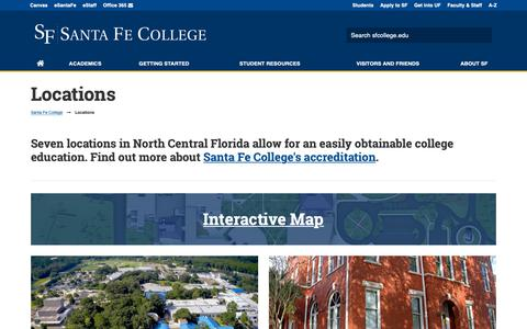 Screenshot of Locations Page sfcollege.edu - Santa Fe College Locations - captured Jan. 30, 2019