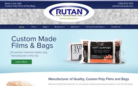Screenshot of Home Page rutanpoly.com - Industrial Plastic Bags | Rutan Poly Industries, Inc. - captured Oct. 23, 2017