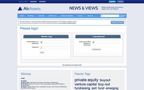 Screenshot of Login Page altassets.net - Please login |  AltAssets Private Equity News - captured Sept. 19, 2014