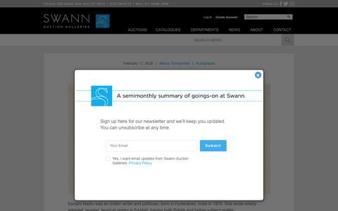 Screenshot of Press Page swanngalleries.com - Swann Galleries News - - captured Feb. 18, 2020
